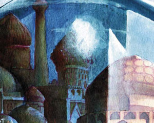 Magic the Gathering City-in-a-Bottle-Arabian-Knights--6'-x-7.5'-Watercolor-1993 Drew Tucker Illustration