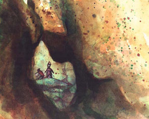 Magic the Gathering Goblin-Caves-The-Dark,--6'-x-7.5'-Watercolor,-1994 Drew Tucker Illustration