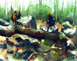 Magic the Gathering People-of-the-Woods-The-Dark,--6'-x-7.5'-Watercolor,,1994 Drew Tucker Illustration