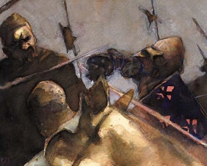 Magic the Gathering Total-War-Ice-Age-6'-x-7.5'-Watercolor,-1995 Drew Tucker Illustration