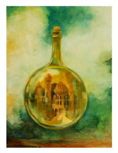 City in a Bottle Private commission 22x30 Drew Tucker Illustration