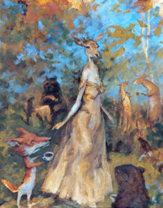The Deer Queen of Sutherland Tall Tales and Bedtime Stories 11x14 oil on canvas board Drew Tucker Illustration